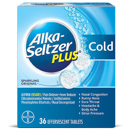 Picture of Alka-Seltzer Plus Cold Sparkling Original Effervescent Tablets 36 each pack