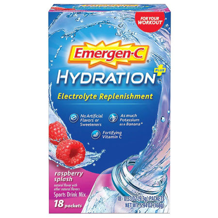 Picture of Emergen-C Hydration Plus Electrolyte Replenishment Sports Drink Mix Raspberry Splash 18.0ea